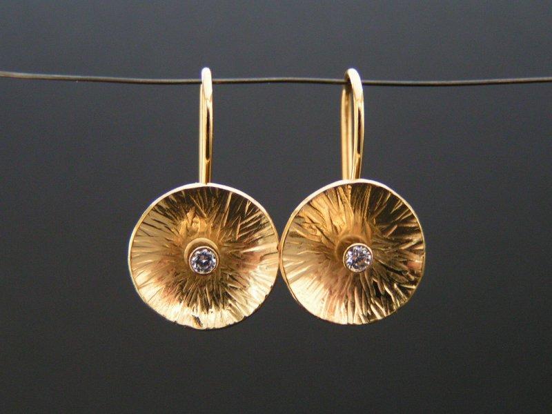 guld design øreringe sølv